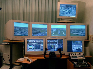 Virtual cockpit with multiple monitors for Flight Simulator