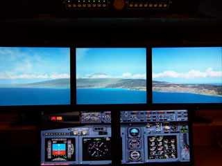 Large view in flight simulator with multiple monitors